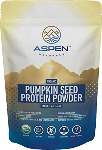 Organic Pumpkin Seed Protein Powder – Vegan Protein Powder, Plant Based, Gluten Free, Rich in Amino Acids Essential Fatty Acids, Boost Immune System, Aids Weight Loss, Improves Digestion-30 Servings