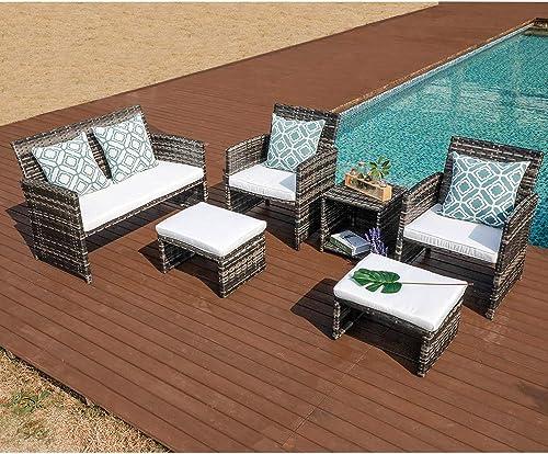 OC Orange-Casual 6 Piece Wicker Patio Furniture Set