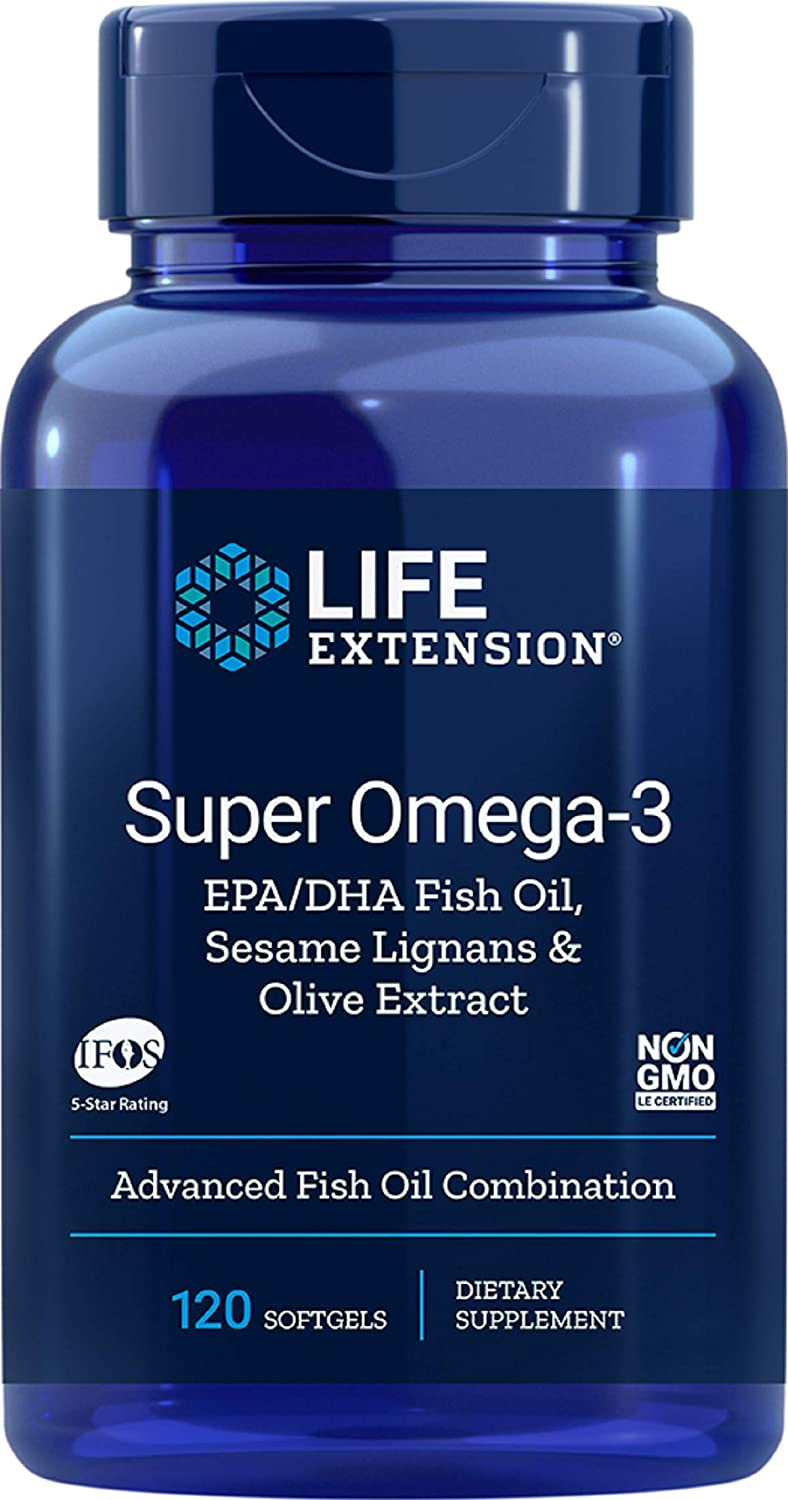 Life Extension Super Omega-3 EPA/DHA with Sesame Lignans & Olive Extract, 120 Softgels