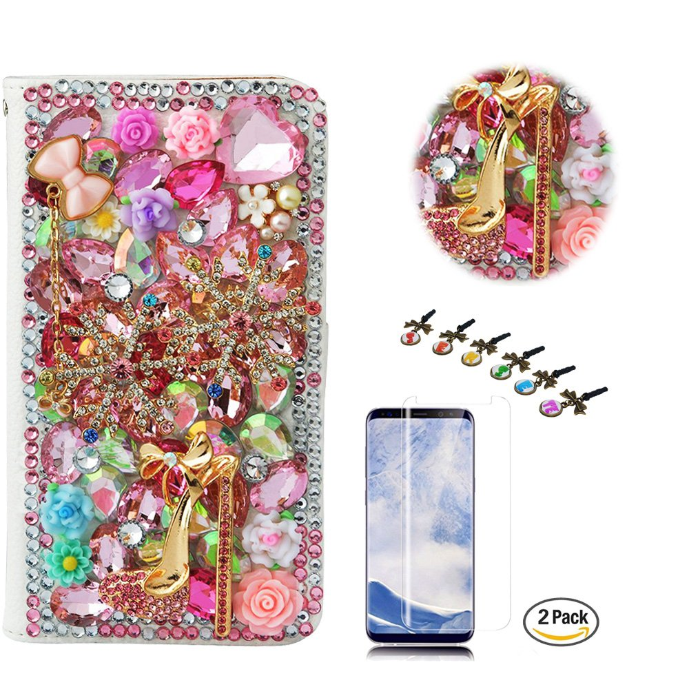 STENES LG Stylo 4 Case - Stylish - 3D Handmade Crystal Girls High Heel Flowers Wallet Credit Card Slots Fold Media Stand Leather Cover with Screen Protector for LG Stylo 4 / LG Q710MS - Pink