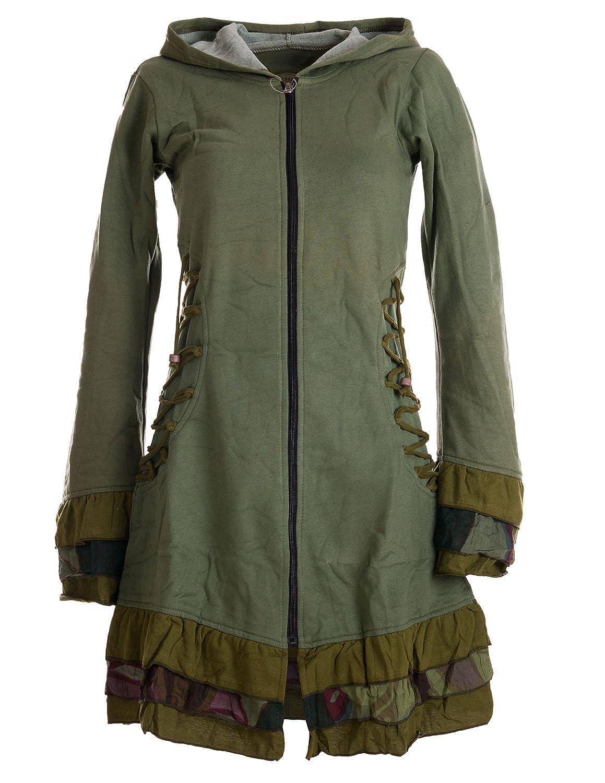 Vishes – Alternative Bekleidung – Elfenmantel aus Baumwolle mit Zipfelkapuze und Rüschen zum Schnüren