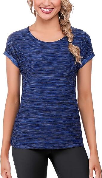 iClosam Camisetas Deporte Mujer Fitness Cuello Redondo BáSicas Seco RáPido Blusas Camisa Top Camiseta Mujers Running Manga Corta: Amazon.es: Ropa y accesorios