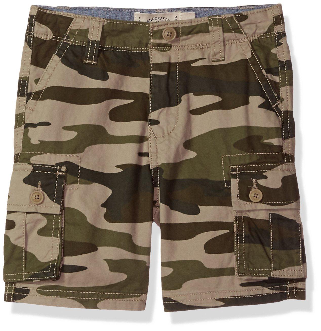 Lucky Brand Boys' Big Cargo Shorts, Green camo, 16