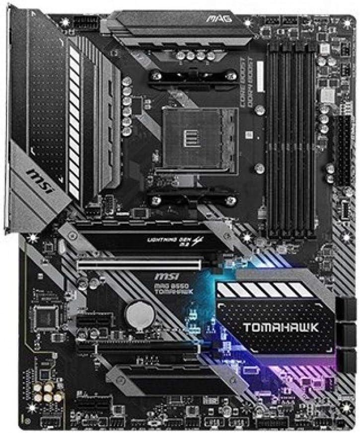 MSI MAG B550 TOMAHAWK Motherboard ATX, AM4, DDR4, Dual M.2, LAN, USB 3.2 Gen2, Front Type-C, Mystic Light RGB, HDMI, DisplayPort, AMD Ryzen 5000 Series Processor