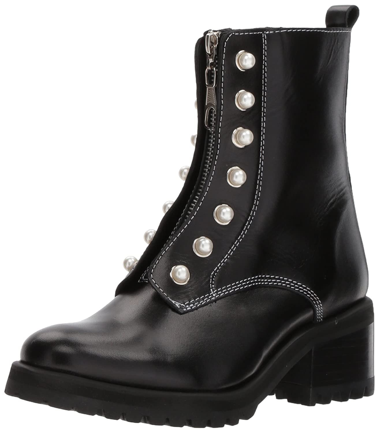 Steve Madden Women's Granite Combat Boot B075NLRCP6 8.5 B(M) US|Black Leather