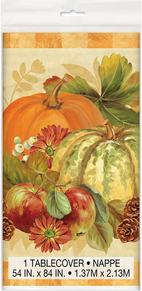 """Happy Thanksgiving Table Cover Paper 54/"""" x 88/"""" NEW Decor Fall Pumpkin"""