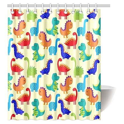InterestPrint Dinosaur Lover Decor Shower Curtain Set Jurassic Archaeological Historical Monster Wild Creature Cartoon Children