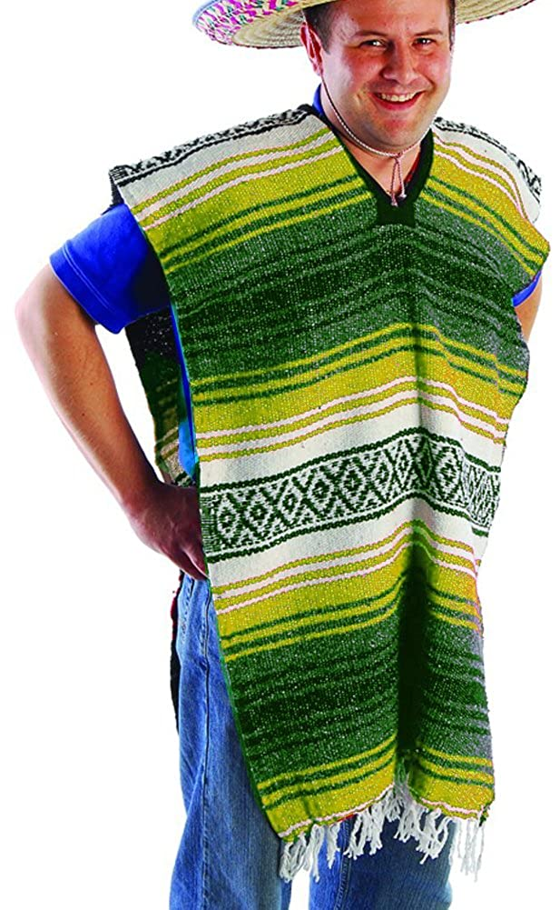 US Toy Adult Striped Poncho No Sombrero Costume US Toy Adult Economy Poncho Everready First Aid USTMX366