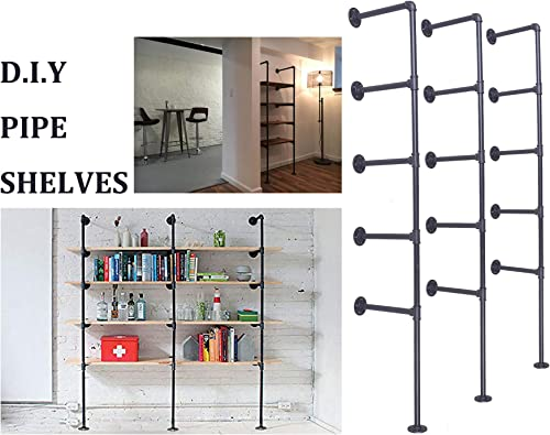 LOKKHAN DIY Industrial Pipe Shelf Kit,5 Shelf Pipe,Ceiling Shelves,Wall Mount Bookshelf,Pipe Floating Shelves