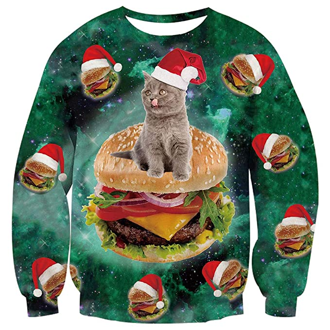 TUONROAD Ugly 3D Christmas Sweaters With Cats Funny Crew Neck Pullover Sweatshirt