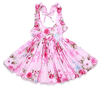 f83571ae7926c Flofallzique Floral Girls Dress Summer Cotton Casual Beach Birthday Party  Toddler Sundress Baby Clothes