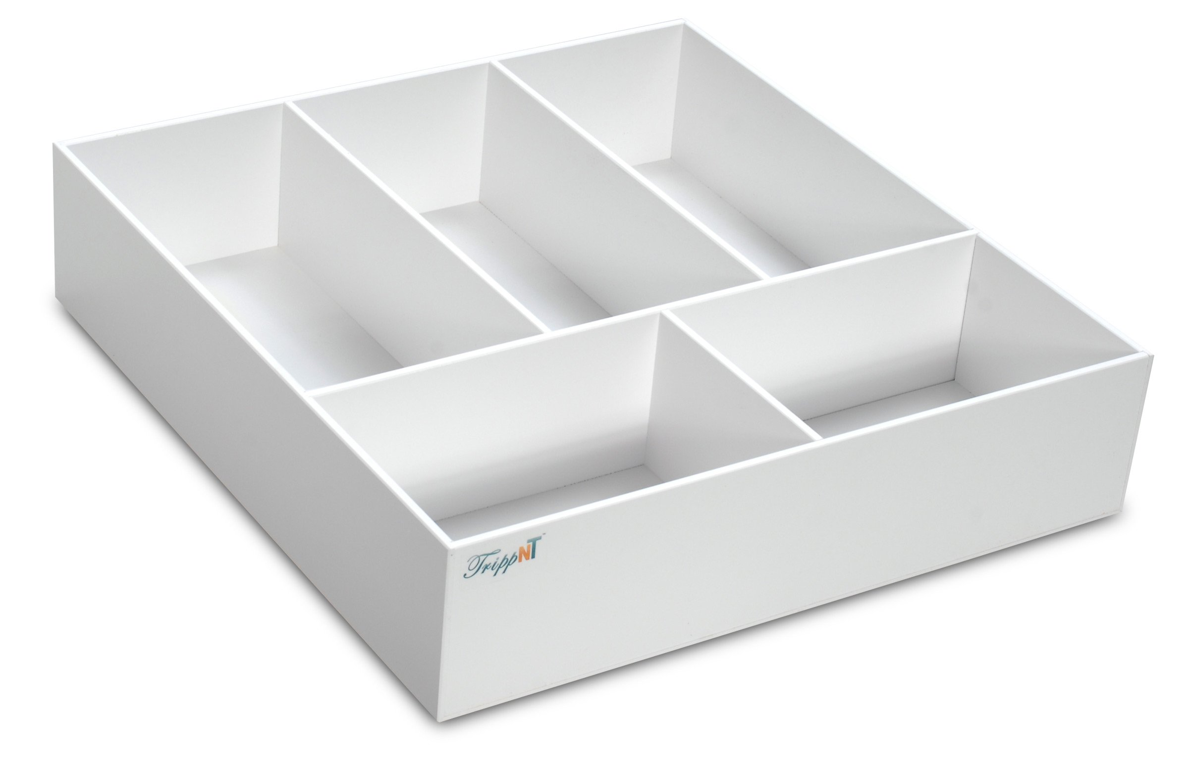 TrippNT 50068 White PVC Plastic 4'' Extra Deep Drawer Organizer, 5 Compartments, 17.5'' Width x 4'' Height x 19.5'' Depth
