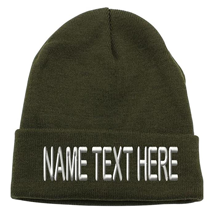 f2fd322a881 Caprobot ID Custom Embroidery Personalized Name Text Ski Toboggan Knit Cap  Cuffed Beanie Hat - Army