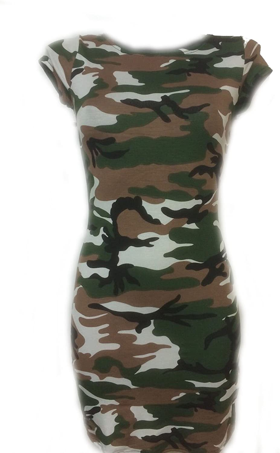 New Womens Ladies Cap Sleeves Army Leopard Stripes Printed  Bodycon Midi Dress