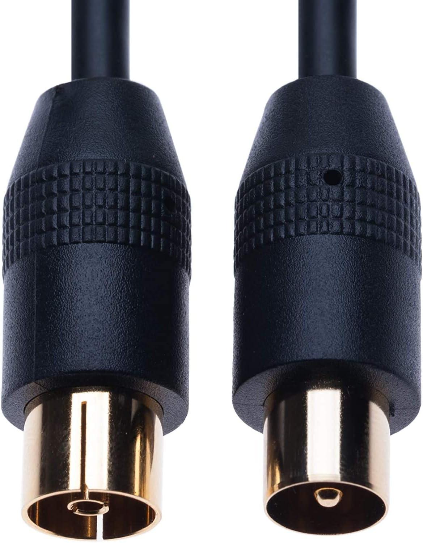 Cable de antena macho a hembra de 3 m, conectores dorados negros