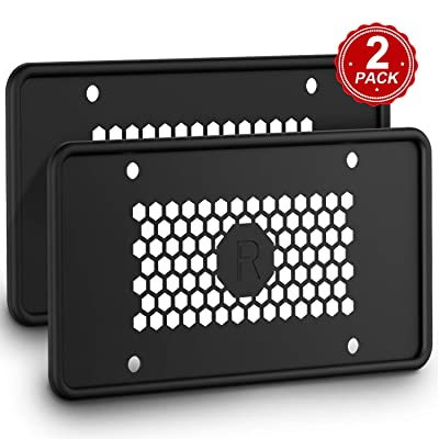Karoad Silicone License Plate Frames with 8 Screws and 8 Screw Covers, Black Car License Plate Cover License Plate Holder - Waterproof Rust-Proof Non-Deformation Cold and High Temperature Resistance: Automotive