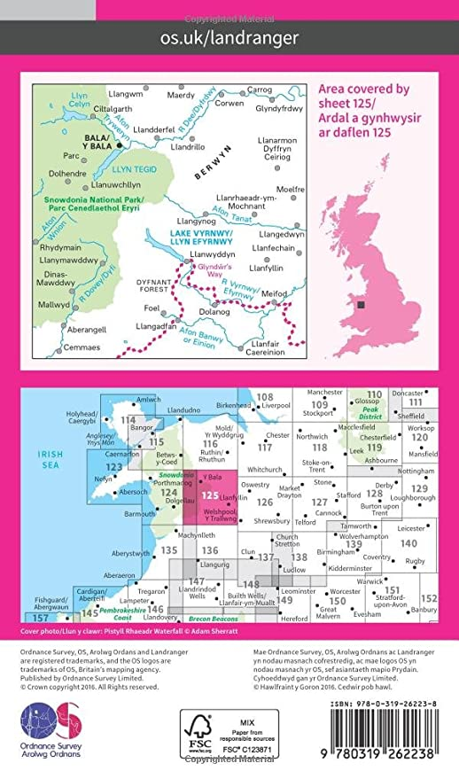 Landranger 125 Bala Lake Vyrnwy Berwyn OS Landranger Map Amazon