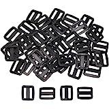 Shapenty 50PCS Black Plastic Tri-Glide Slides Button Bulk Adjustable Webbing Triglides Slider Buckle for Belt Backpack…