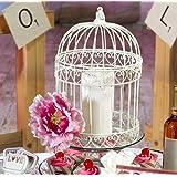 Indoor/Outdoor Decorative Bird Cage Latern Centerpiece-Ivory