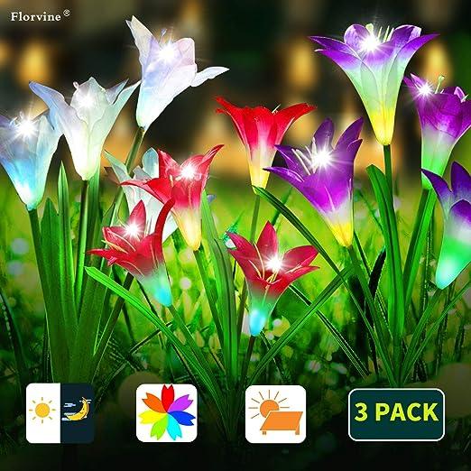 Florvine 3 luces solares de flores de lirio,luces solares de flores,luces LED de jardín que cambian de color con energía solar con 12 flores de lirio para jardín,patio (blanco,rojo,púrpura): Amazon.es: Iluminación