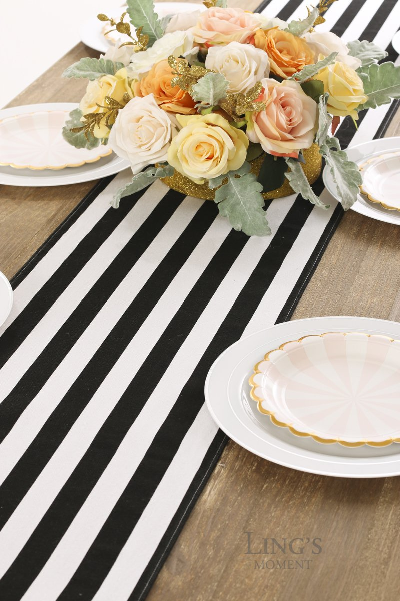 Lings moment Classical Durable 1 Wide Black and White Striped Table Runner 100/% Cotton Machine Washable Modern Style Stripe Table Cloth for Wedding Party Dinner Table Decor 12 x 72 // 6FT