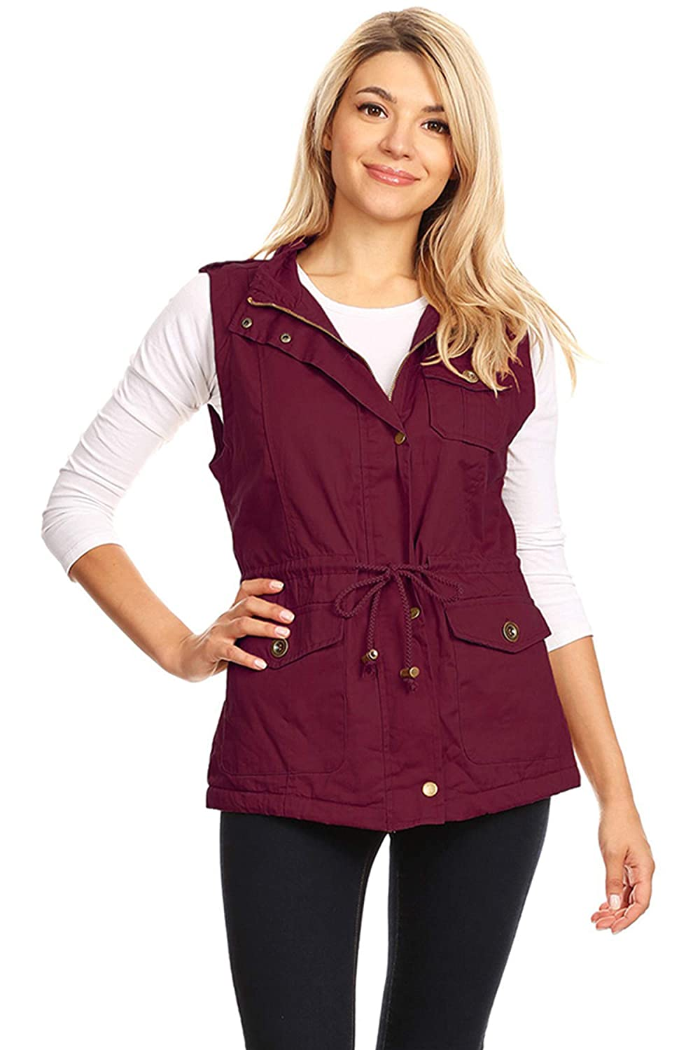 Women's Fashion Lightweight Sleeveless Faux Fur Lined Utility Vest