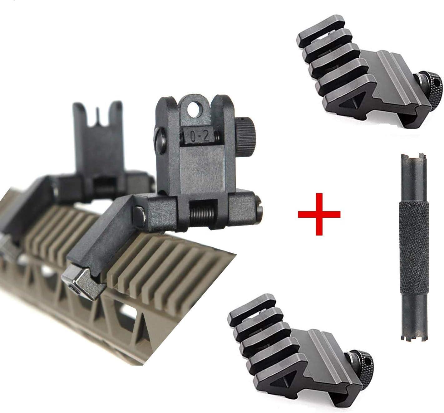 IORMAN 2 Pcs 45 Degree Rail Mount 4 Slots Rail and 1 Pcs Ultralight Flip Up Sight 45 Degree Offset Front and Backup Rear Sight and 1 Pcs Front Sight Adjustment Tool