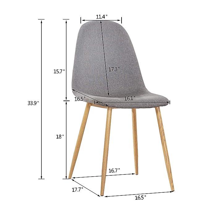 Amazon.com: Mcombo - Juego de 4 sillas de comedor de tela ...