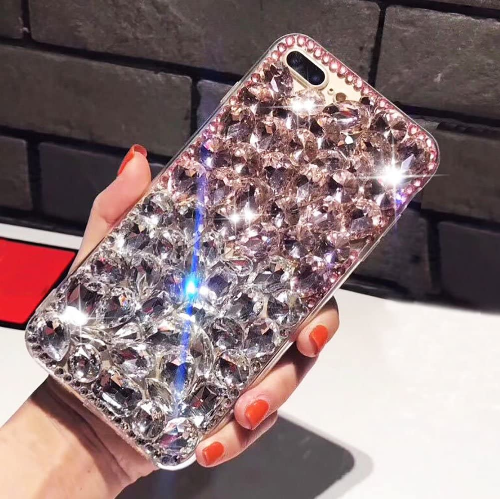 Aearl Apple iPhone XR Bling Diamond Case,iPhone XR 3D Homemade Sparkle Crystal Rhinestone Shiny Glitter Full Clear Stones Back Phone Cover With Screen Protector For iPhone XR 6.1 inch 2018-Full White