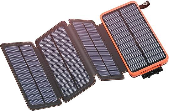 Riapow Cargador Solar Portátil de 25000mAh con 4 Paneles solares Impermeables para Smartphones, tabletas y Camping