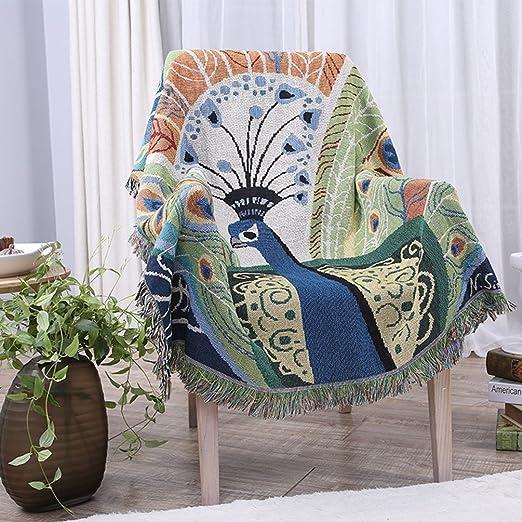 Animal Tapestry Wall Hanging Golden Peacock Decor Bedroom Living Room Blanket