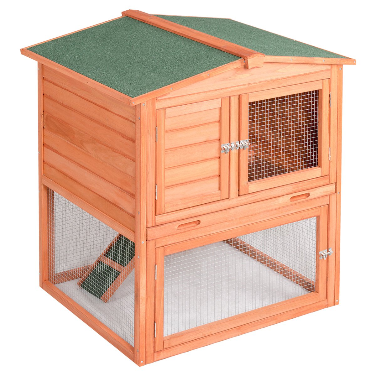 Tangkula Chicken Coop Wooden Garden Backyard Bunny Small Animal Hen Cage Rabbit Hutch