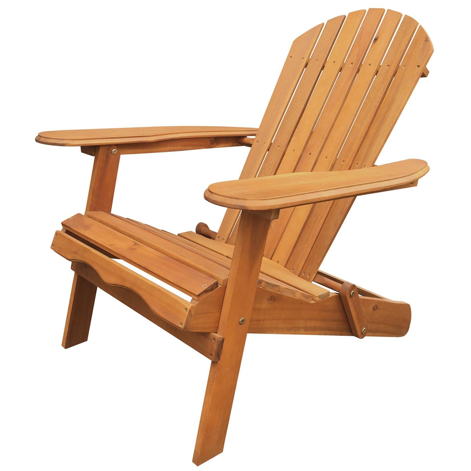 Leigh Country TX 36600 Folding Adirondack Chair Outdoor/Patio Furniture, Natural