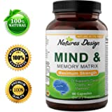 Natures Design Mind & Memory Matrix Brain Supplement for Adults to Boost Focus + Concentration + Mental Performance – Natural Nootropic Pills for Men & Women - DMAE Bitartrate + Green Tea + Bacopa