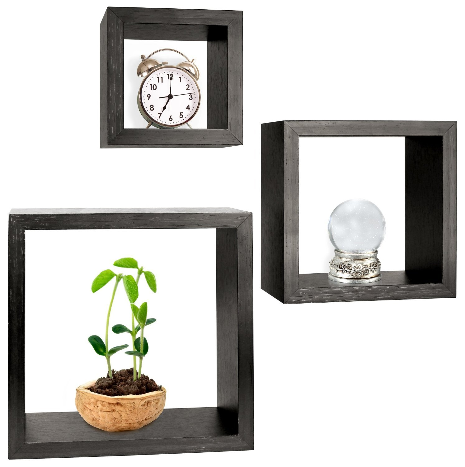 Greenco Set of 3 Floating Cube Shelves, Espresso Finish - Set of 3 size shelves Made of durable MDF laminate Beautiful espresso finish that suits almost any decor Easy to mount with all necessary hardware Included - wall-shelves, living-room-furniture, living-room - 717ci0%2BzPIL -