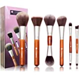 Makeup Brushes,L COSMETIC Makeup Brush Set 6 Pcs Professional Premium Synthetic Cosmetic Eyeshadow Double Ended Contour and Highlight Brush for Blush and Powder