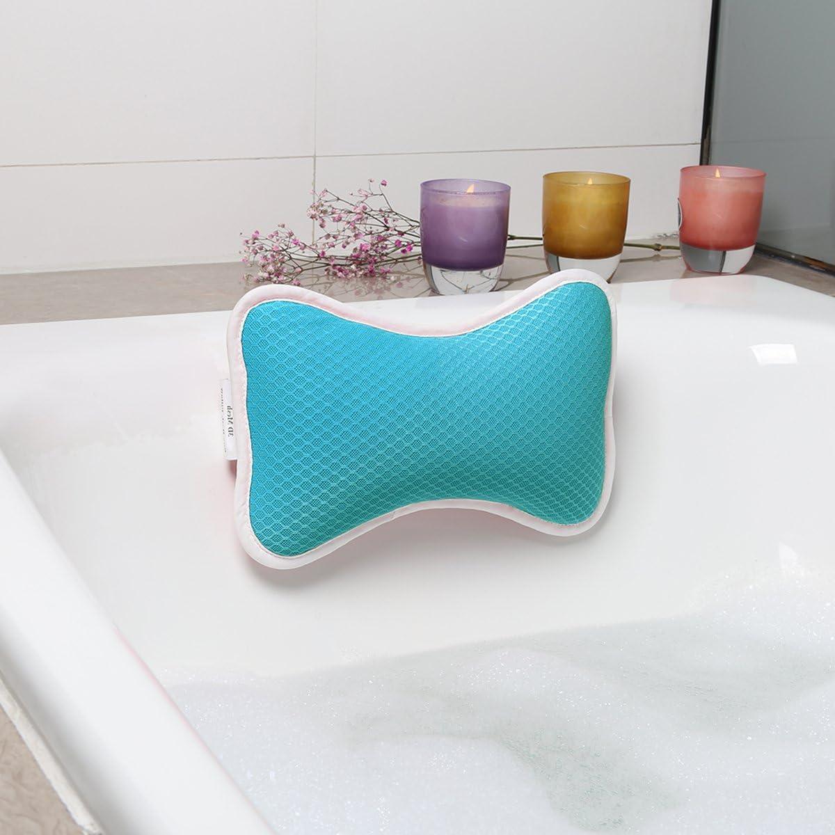 Petit Remplissage de 3D Maille pour Baignade Confortable Bleu Design Ergonomique Oreiller de Baignoire Antid/érapant avec Ventouses 2 Pcs Cou Support Oreiller de Bain de Relaxation