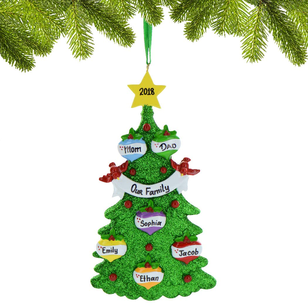 Personalized Green Glitter Tree Family of 3 Christmas Ornament 2018 - Colorful Baubles Decorated Star by Cardinal - Parents Children Friends Fun Garnish Holiday Tradition - Free Customization (Three) Ornaments by Elves