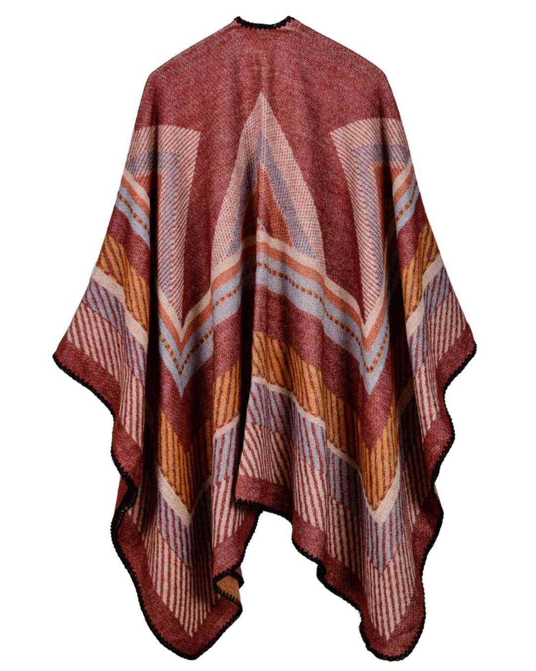 Women Poncho Scarf Cardigan Sweater Geometrical Striped Warm Cape Shawl Long Scarves Outwear Red