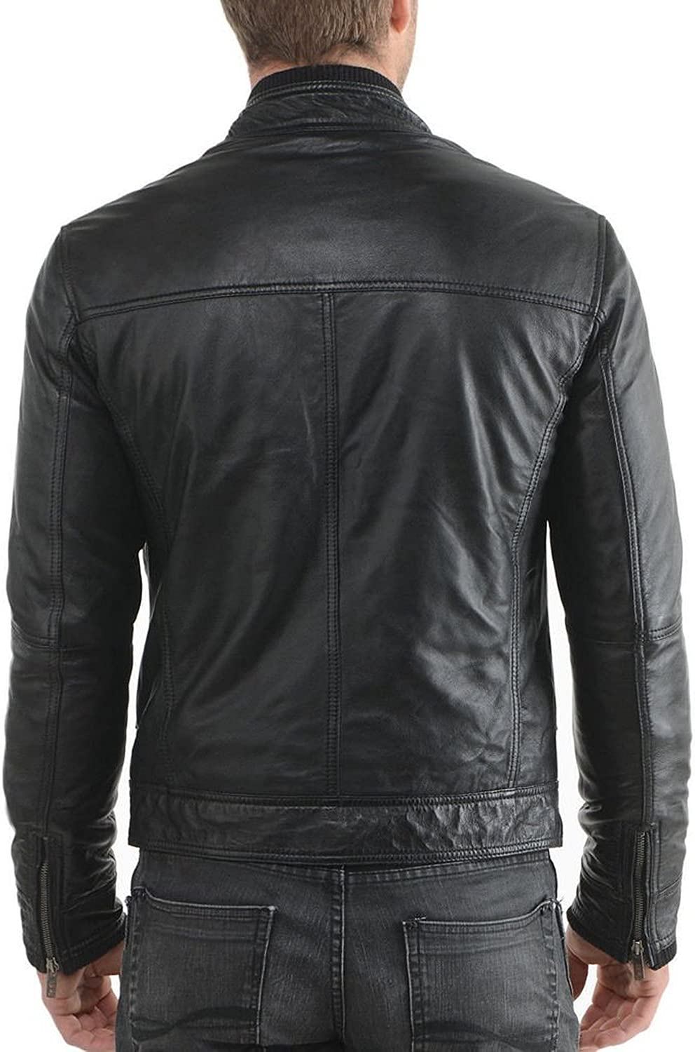 New Men Quilted Leather Jacket Soft Cow Leather Biker Bomber LFC742 XXL