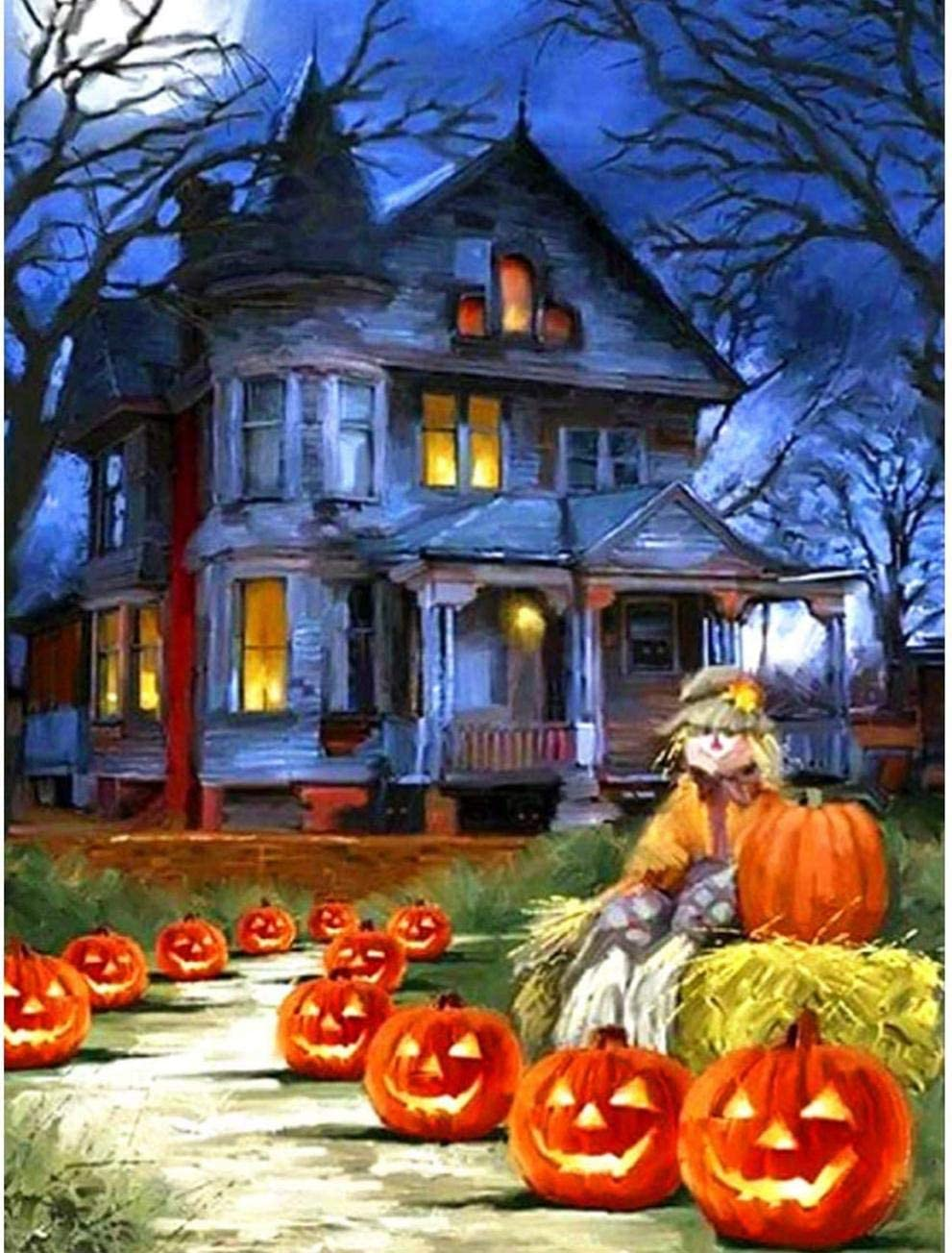 Zhaokunpeng 5D Full Drill Diamond Painting Halloween Haunted House Jack-O-Lantern Road By Number Kits Pintar Con Diamantes Artes Bordado Diy Craft Set Decoraciones Artísticas (12X16 Inch)