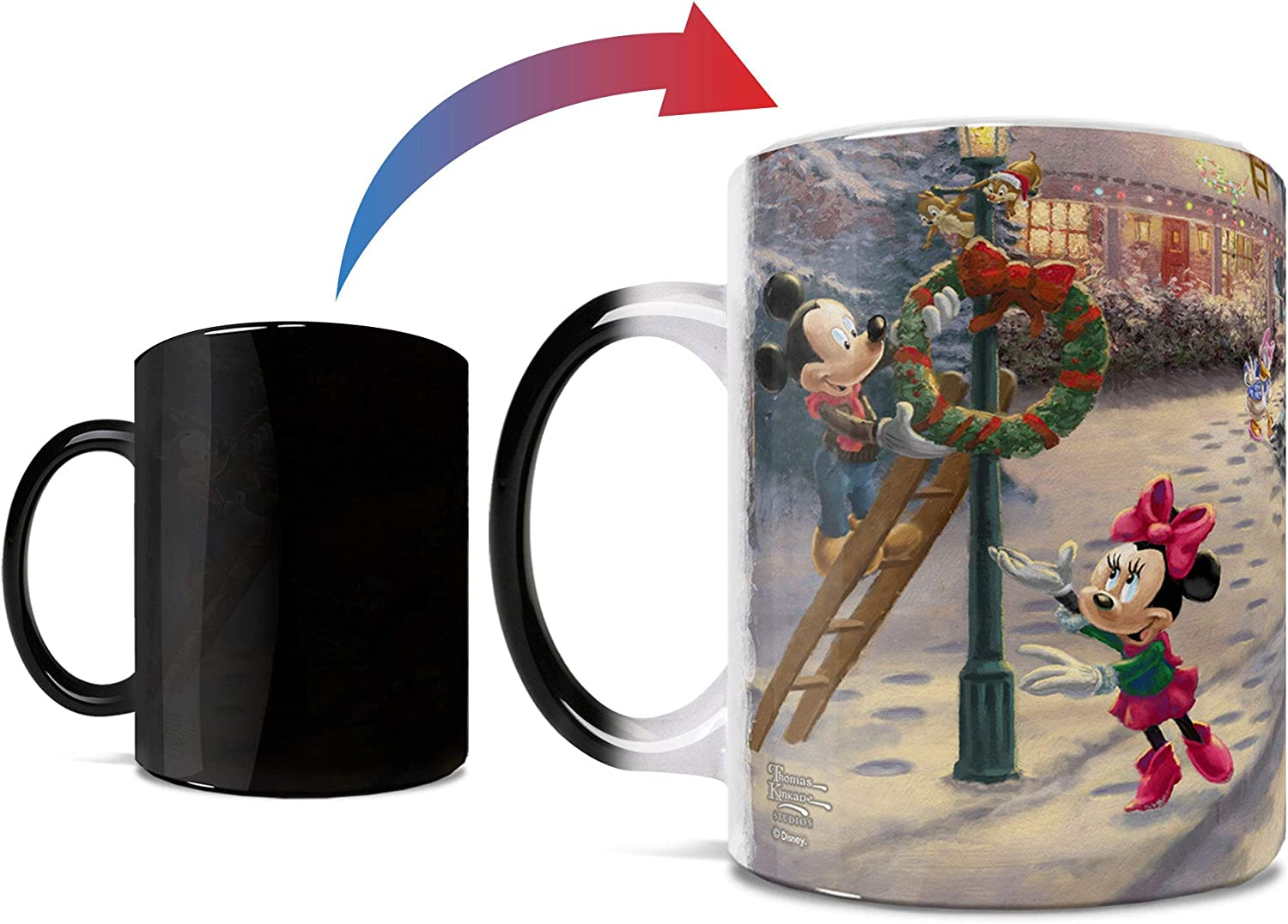 Disney – Mickey Mouse – Minnie Mouse – Victorian Christmas – Thomas Kinkade - One 11 oz Morphing Mugs Color Changing Heat Sensitive Ceramic Mug – Image Revealed When HOT Liquid Is Added!