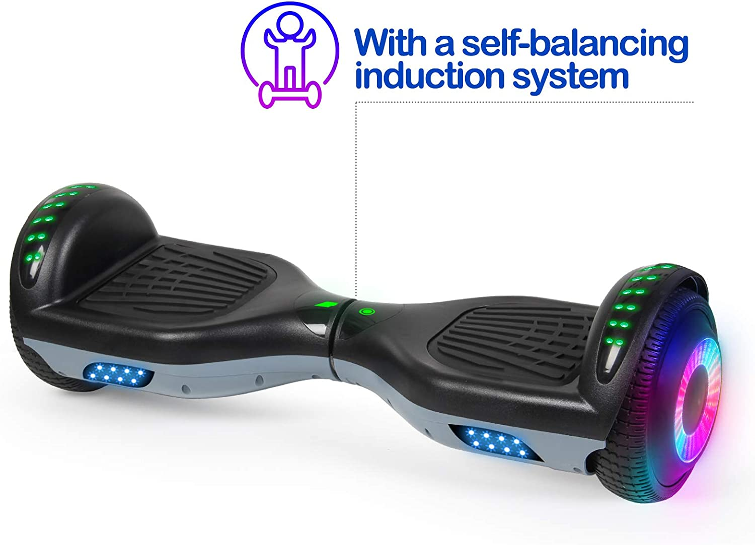 SISGAD Hoverboards 300W Motor for Kids Self Balancing Scooter 6.5 Hoverboard Bluetooth Two Wheel Electric Scooter Swegway Board LED Light With 2