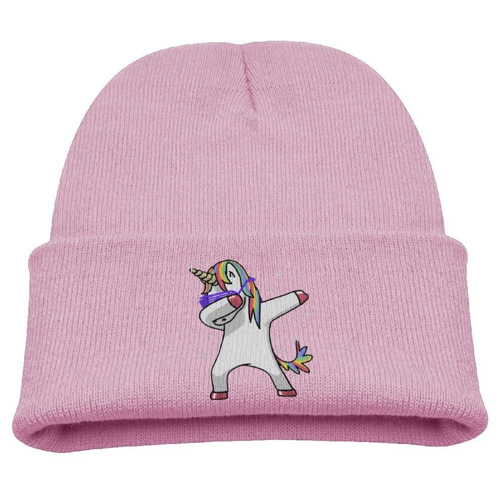 Funny Dancing Unicorn Unisex Kids Cuffed Plain Skull Beanie Soft Winter Toboggan Knit Hat/Cap
