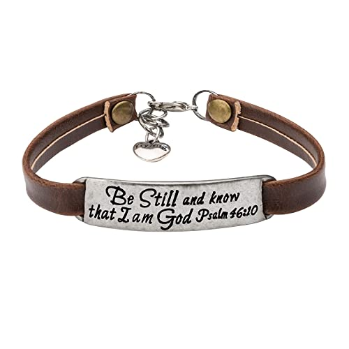 Yiyang Inspirational Vintage Stretch Religion Bible Verse Leather Bracelet For Women Teens Christian Engraved OrnamentJewelry Gift