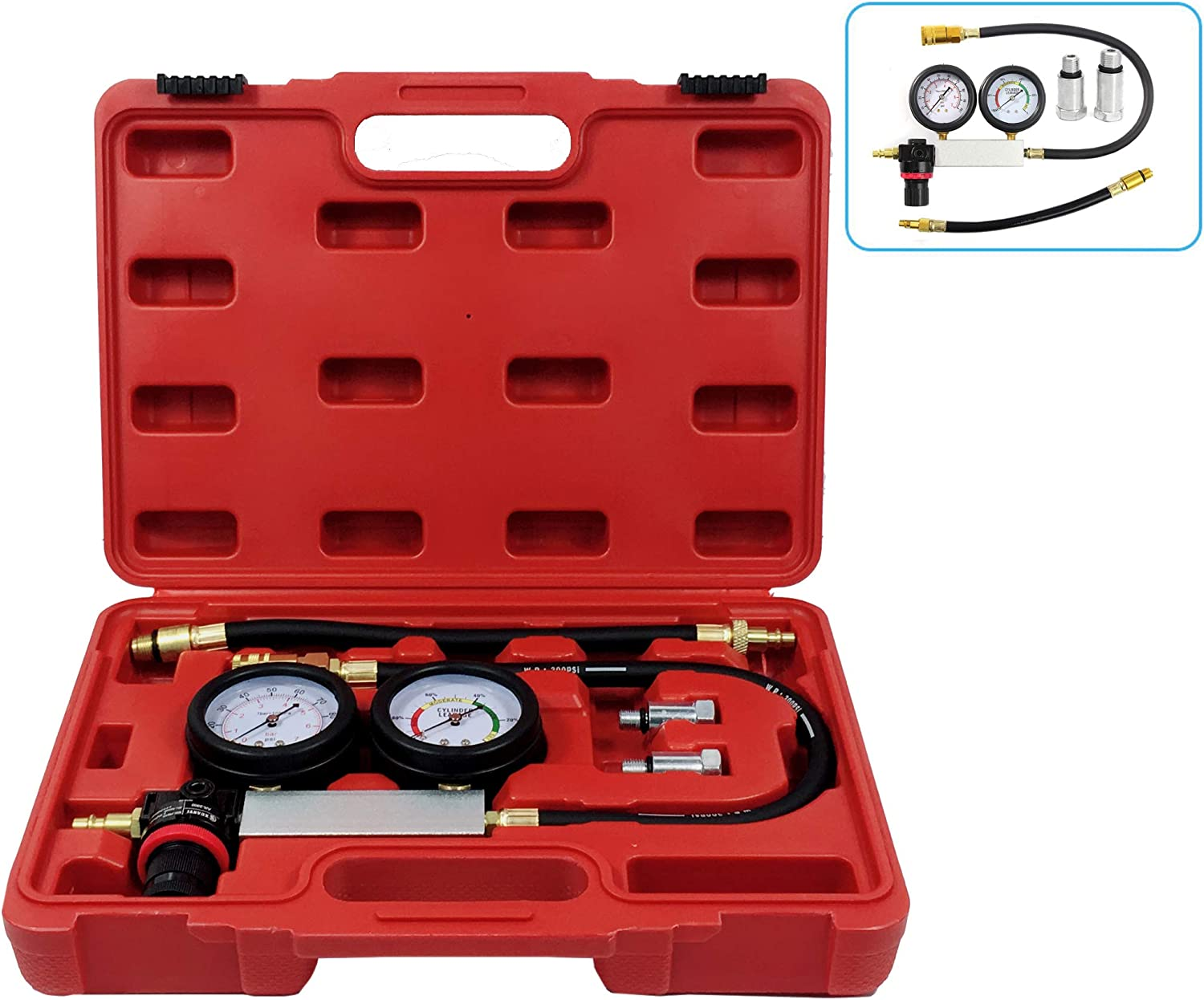 ThreeH TU-21 Cylinder Leak Detector Engine Compression Tester Gauge Kit for Petrol Engine with 12 and 14mm Spark Plugs MA05