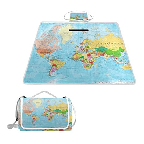 Amazon naanle colorful colored world map waterproof outdoor naanle colorful colored world map waterproof outdoor picnic blanket sandyproof camping beach handy mat gumiabroncs Images