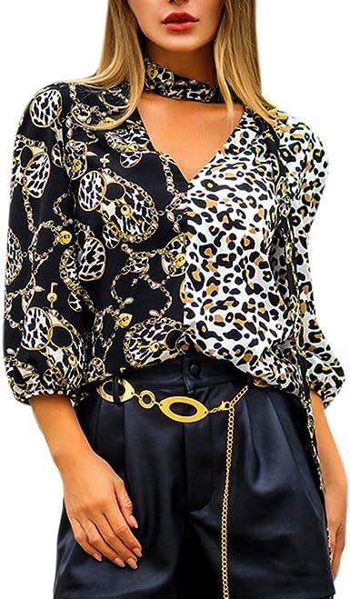 ITISME - Camisas - Animal Print - Cuello en V - Manga Larga - para Mujer Negro Negro (XL: Amazon.es: Ropa y accesorios