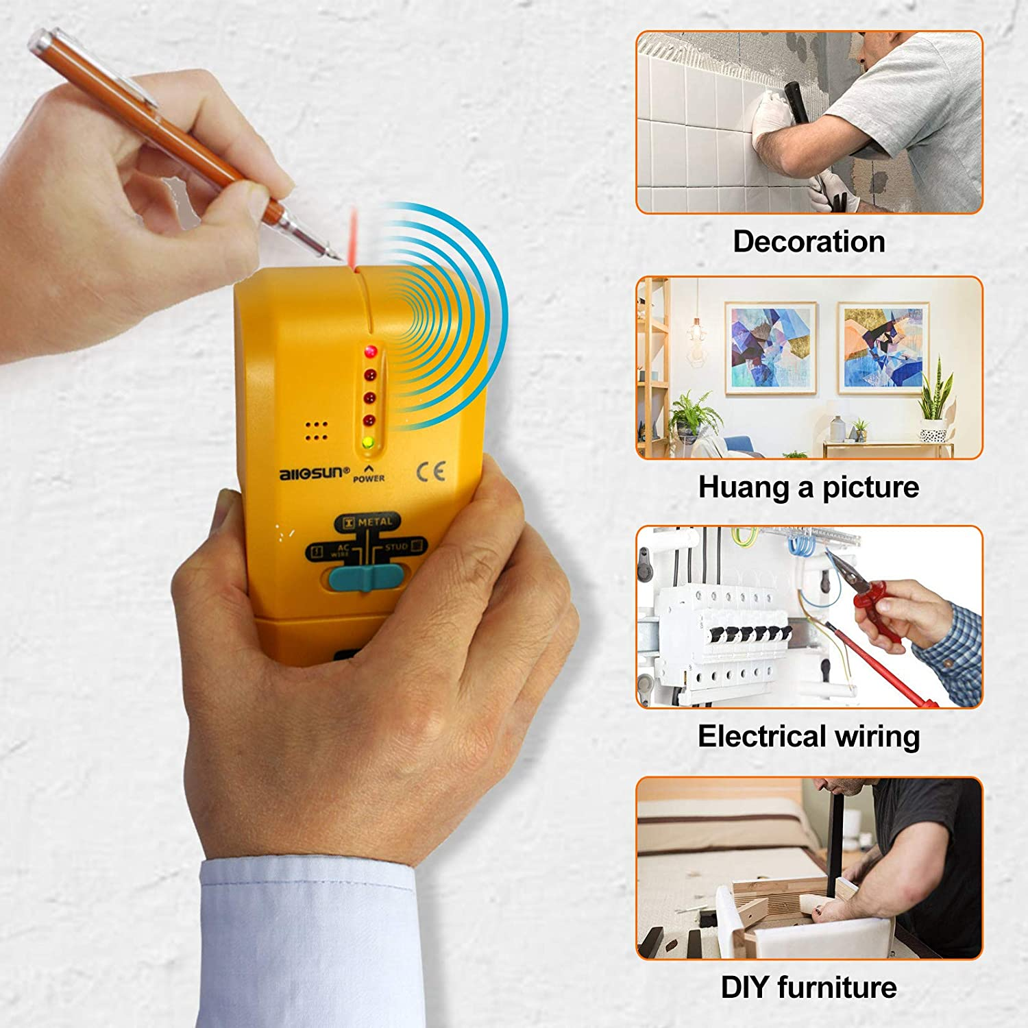 all-sun TS73 3 in 1 LED Wood Stud FinderMulti Stud ScannerElectronic Stud Sensor Wire Cable Wall Metal Detector Finder Home Decoration Zhangzhou Eastern Intelligent Meter Co Ltd