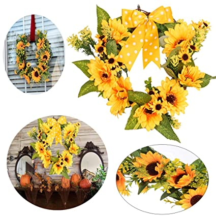 Amazon.com: ZDMALL Fall Garland,Fall Wreath Autumn Decorative Wreath ...